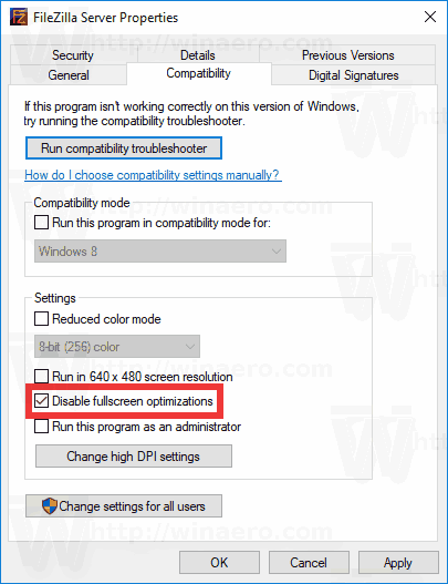 Disable Fullscreen Optimizations in Windows 10