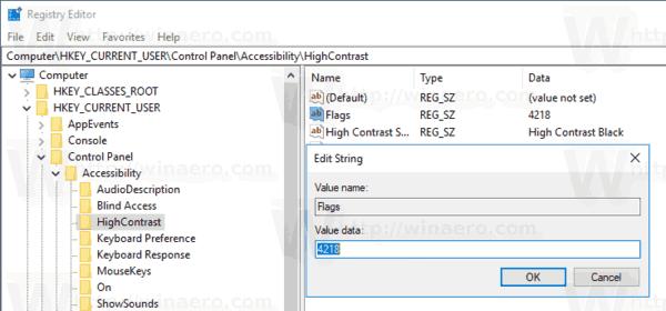 Windows 10 Disable High Contrast Hotkey