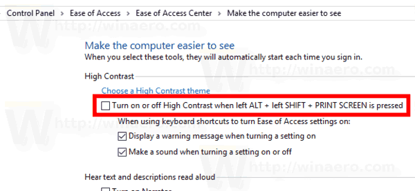 Windows 10 Disable High Contrast Keyboard Shortcut