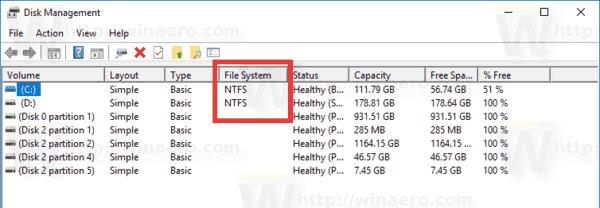 Windows 10 Disk Management File System