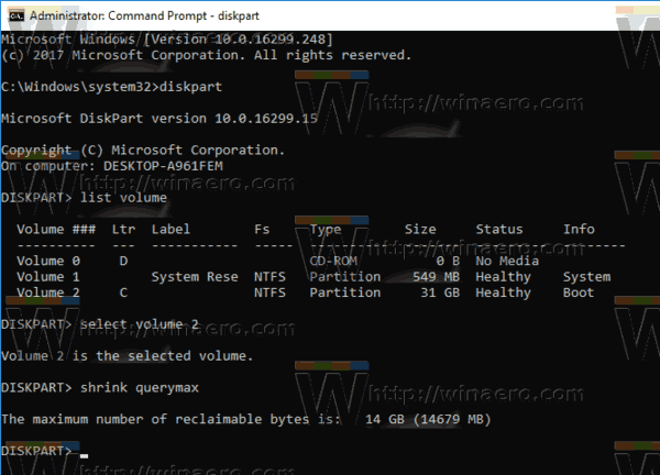 Windows 10 Diskpart Shrink Querymax