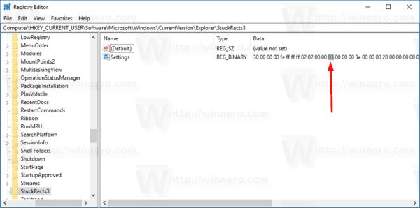 Windows 10 Taskbar Location Registry Tweak Step 1
