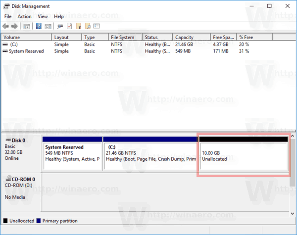 Windows 10 Unallocated Space