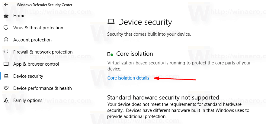 Windows Defender Core Isolation Details Link