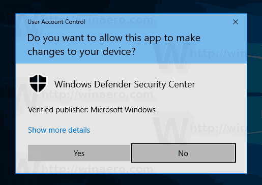 Windows Defender Secuirty Center UAC Prompt