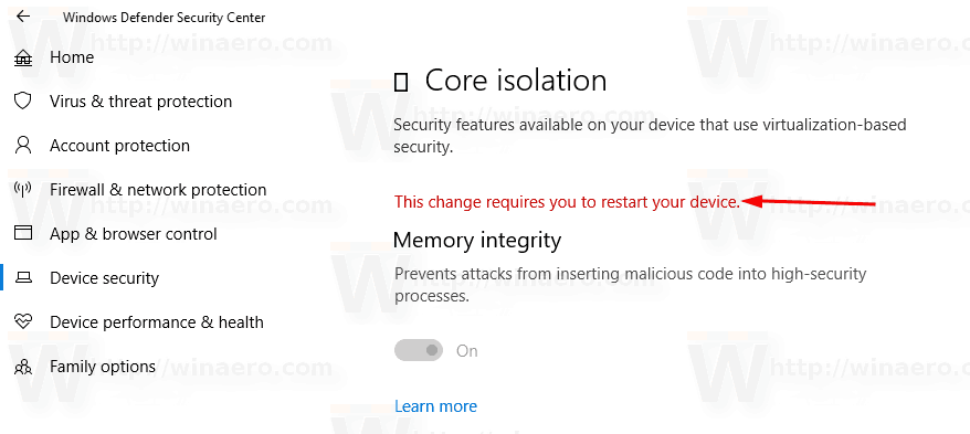 Windows Defender Secuirty Center Reboot Request