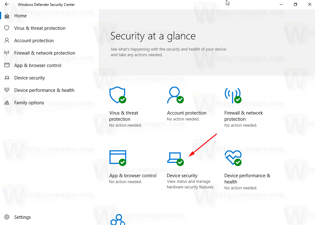 Windows Defender Device Security Icon