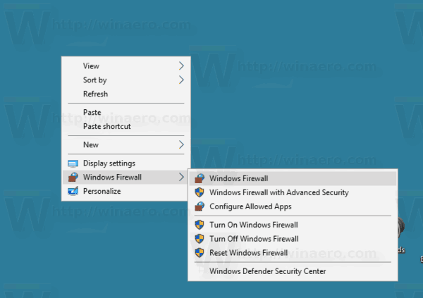 Windows Firewall Context Menu In Windows 10
