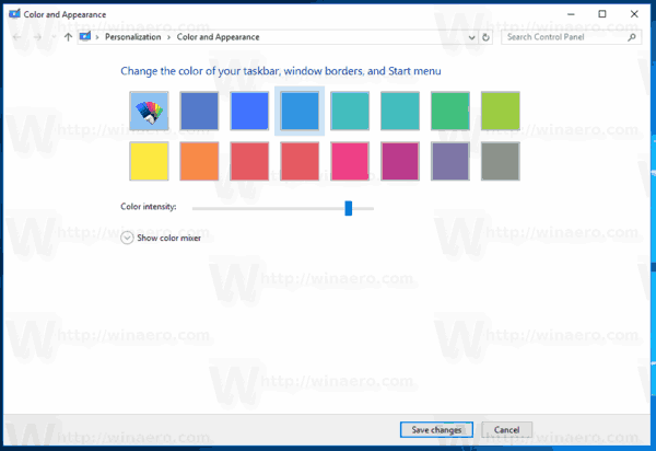 Classic Color Dialog In Windows 10