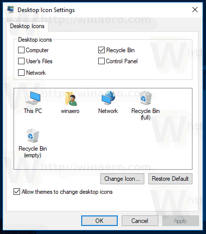 Classic Icons Dialog In Windows 10