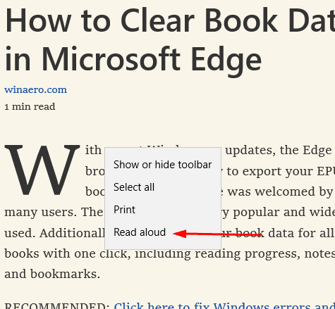 Read Aloud Conext Menu Microsoft Edge