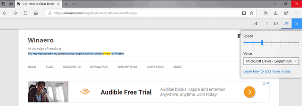 Read Aloud Customize Voice Speed Microsoft Edge