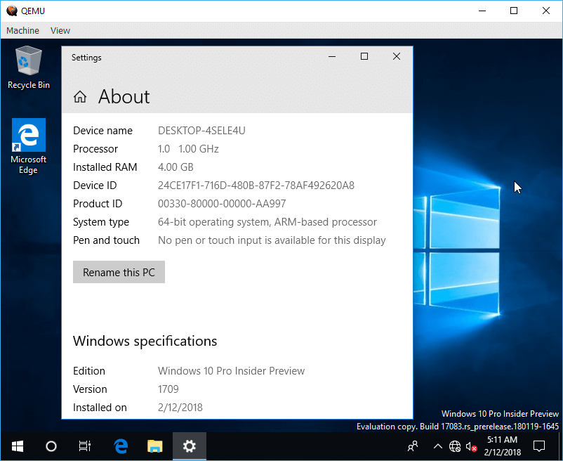 Windows 10 For Arm Image 1