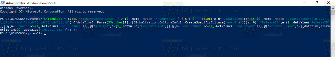 Build Upgrade History In PowerShell Command 1