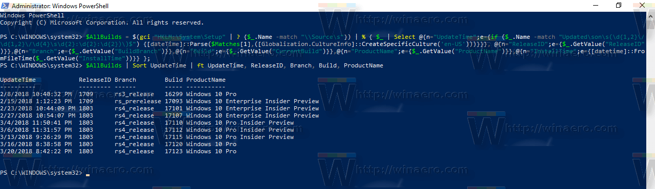 Build Upgrade History In PowerShell Command 2