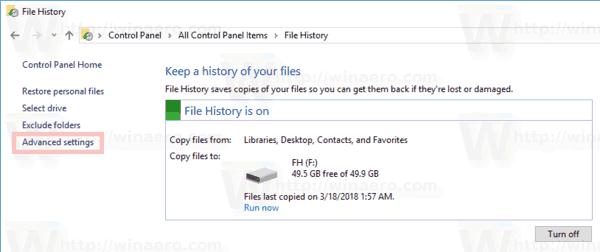 Change How Long To Keep File History With Control Panel