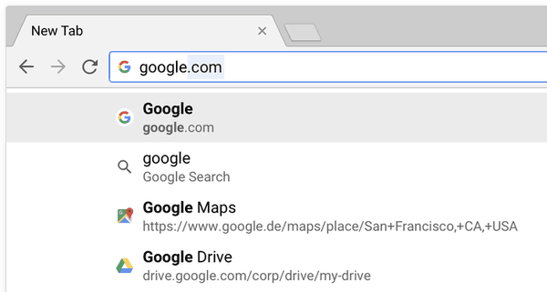Chrome 65 Address Bar Suggestions