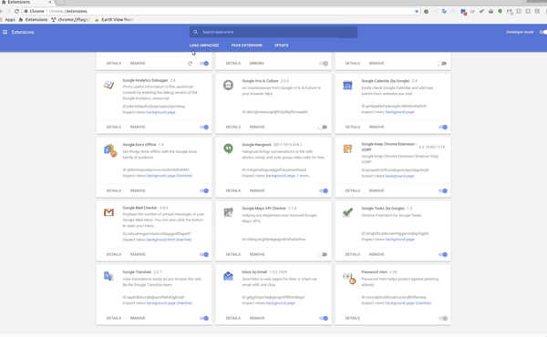 Chrome 65 Material Design Extensions