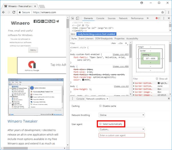 Chrome Developer Tools Custom User Agent