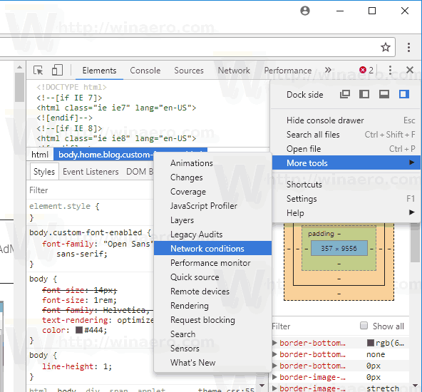 Chrome Open Developer Tools Network Conditions