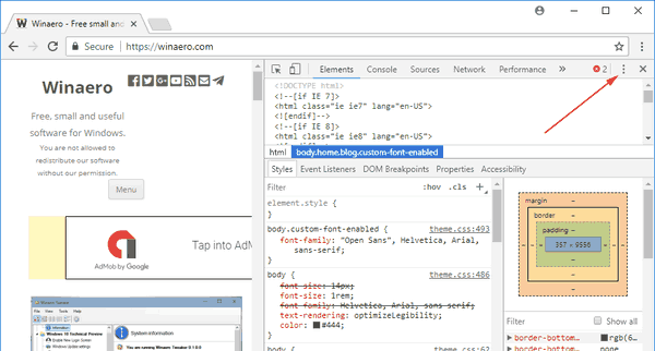Chrome Open Developer Tools Menu Button