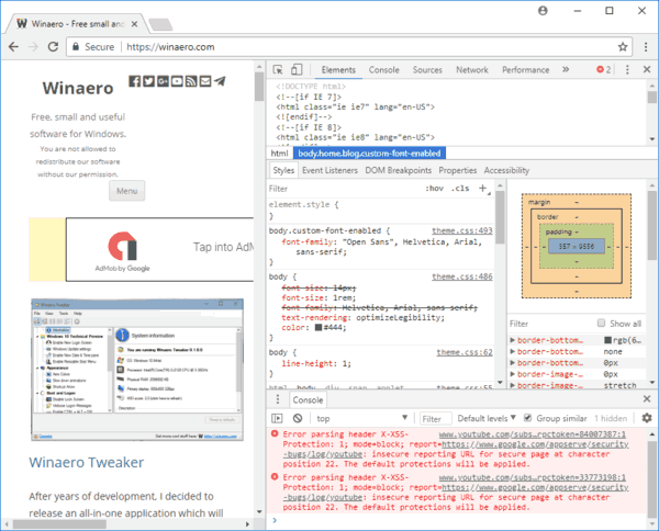 Chrome Open Developer Tools