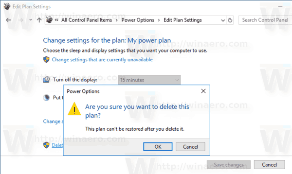 Delete Power Plan Windows 10 Confirmation