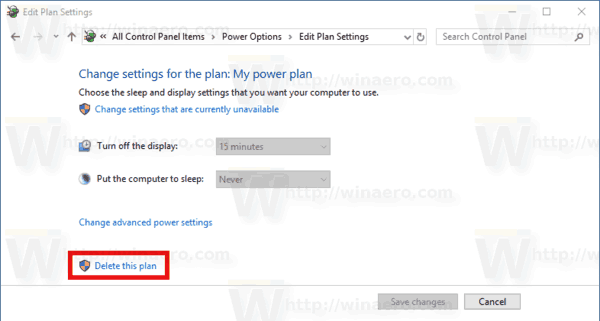 Delete Power Plan Windows 10 Link