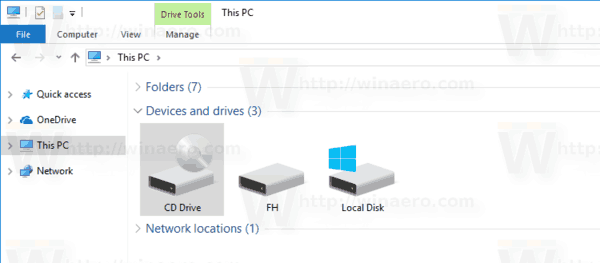 File Explorer Hide Drive Letters Windows 10