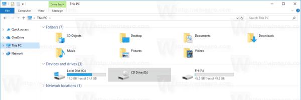 File Explorer Default Drive Letters