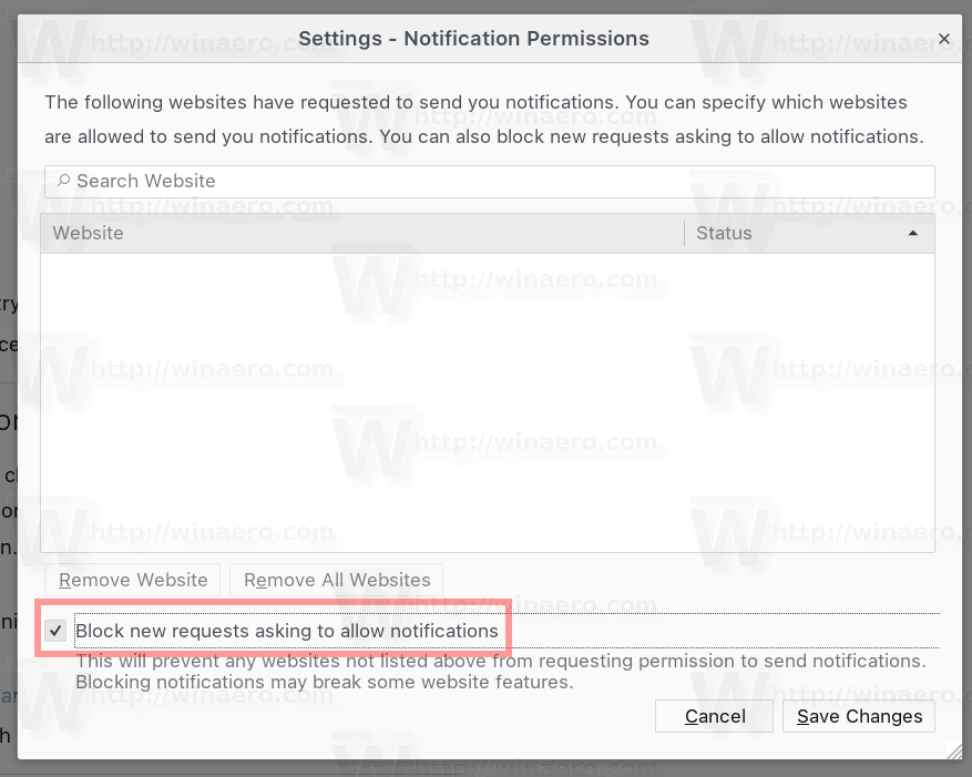 Firefox Disable Web Notifications For All Sites