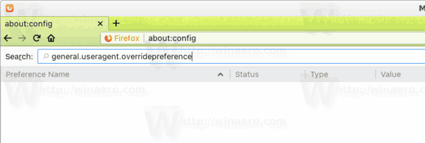 Firefox User Agent Preference