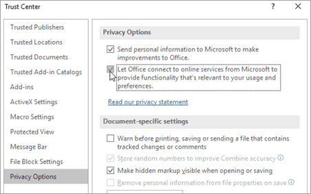Microsoft Office Trust Center Privacy Options
