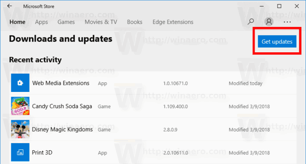 Microsoft Store Get Updates Button
