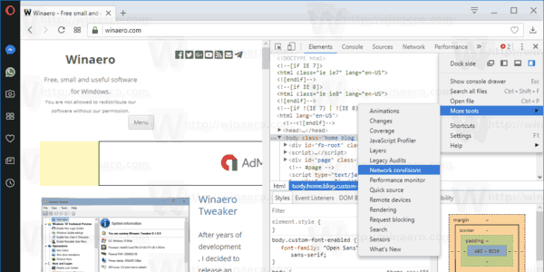 Opera Developer Tools Network Conditions Menu