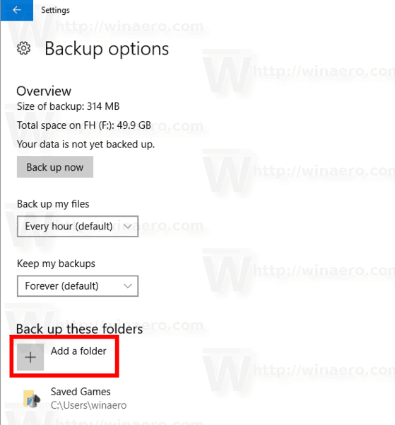 Settings Backup Add A Folder Button
