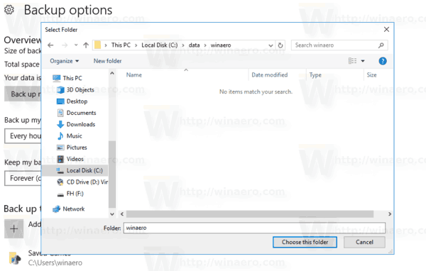 Settings Backup Folder Browser Dialog