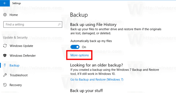 Settings Backup More Options Link