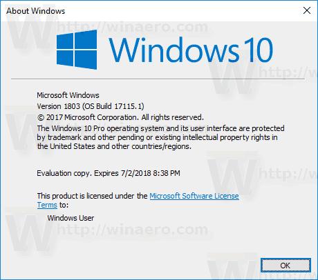 Windows 10 Build 17115 Winver