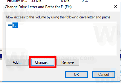 Windows 10 Change Drive Letter Button