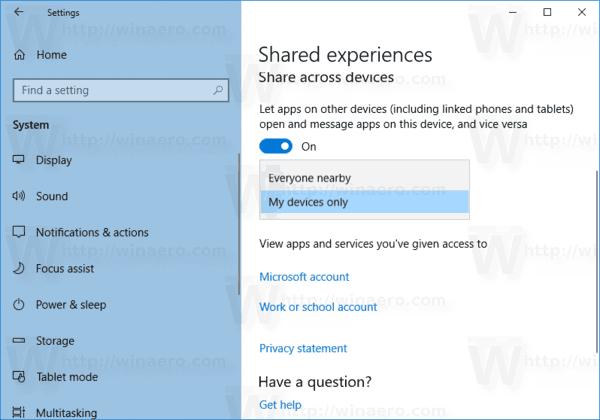 Windows 10 Configure Shared Experiences