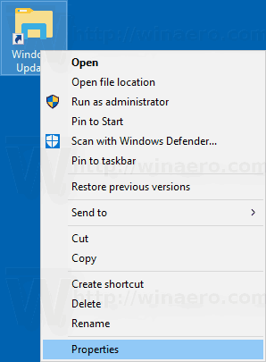 Windows 10 Context Menu For Windows Update Shortcut