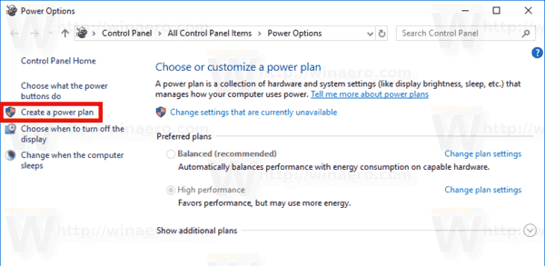 Windows 10 Create Power Plan 1