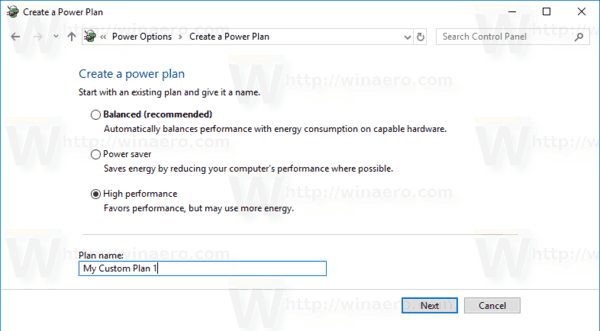 Windows 10 Create Power Plan 2