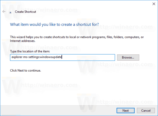 Windows 10 Create Windows Update Shortcut