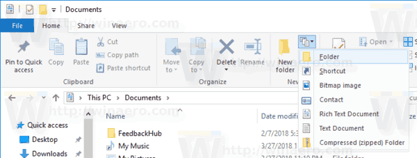 Windows 10 Default New Menu For Ribbon