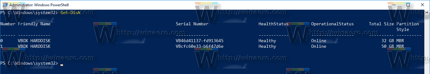 Windows 10 Get Disk PowerShell