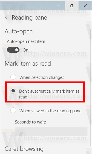 Windows 10 Mail Disable Mark As Read