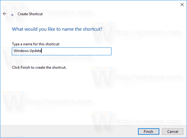 Windows 10 Name Windows Update Shortcut
