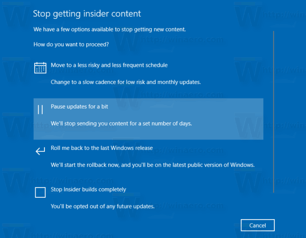 Windows 10 Page Receiving Insider Preview Builds